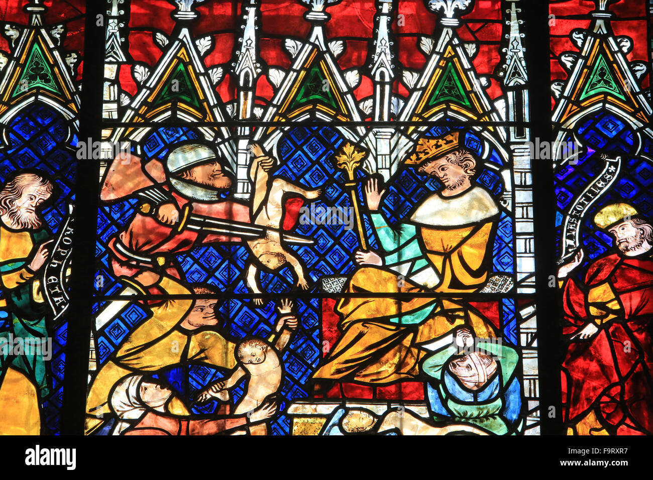 The Massacre of the Innocents. Details. Stained glass window. 14th century The life of the Virgin Mary and Christ Stock Photo