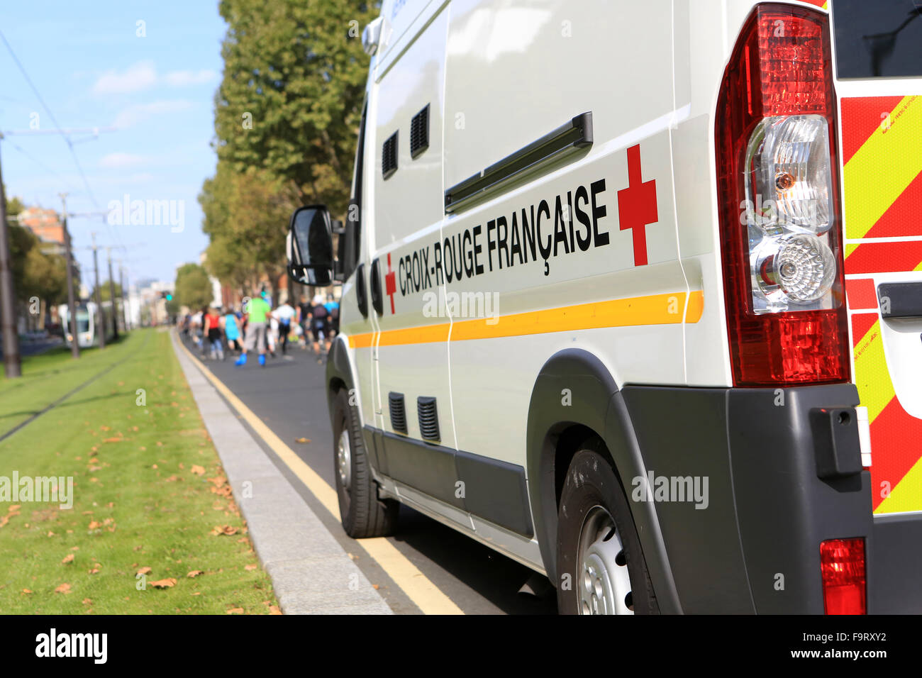 first aid vehicle. French Red Cross. - Stock Image