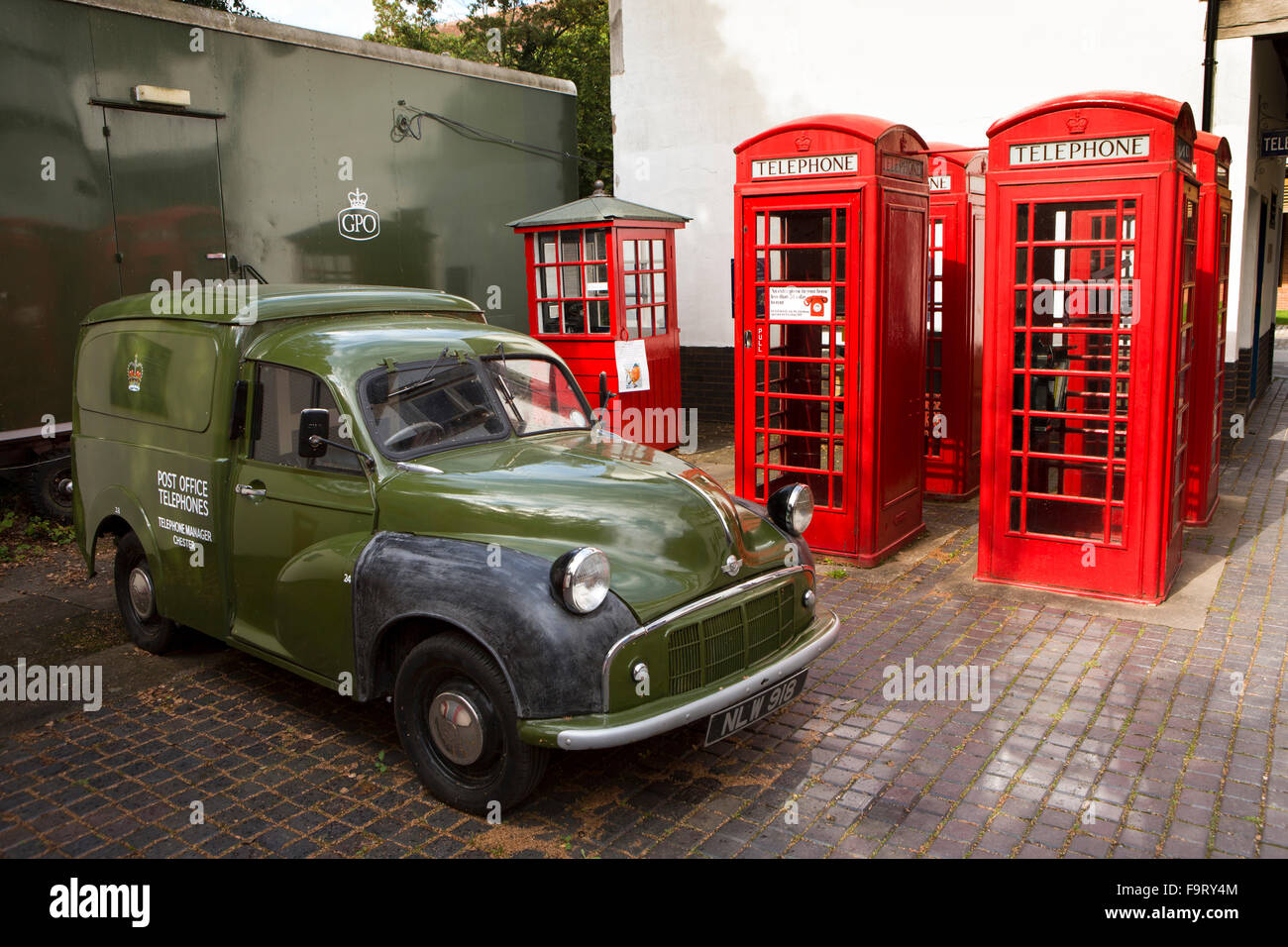 UK, England, Worcestershire, Bromsgrove, Avoncroft Museum, National Telephone Kiosk Collection, K6 boxes, GPO Morris - Stock Image