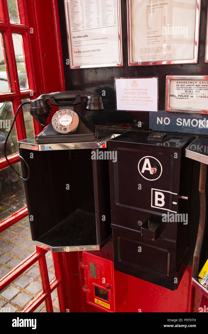 UK, England, Worcestershire, Bromsgrove, Avoncroft Museum, National Telephone Kiosk Collection, K6 booth interior, - Stock Image