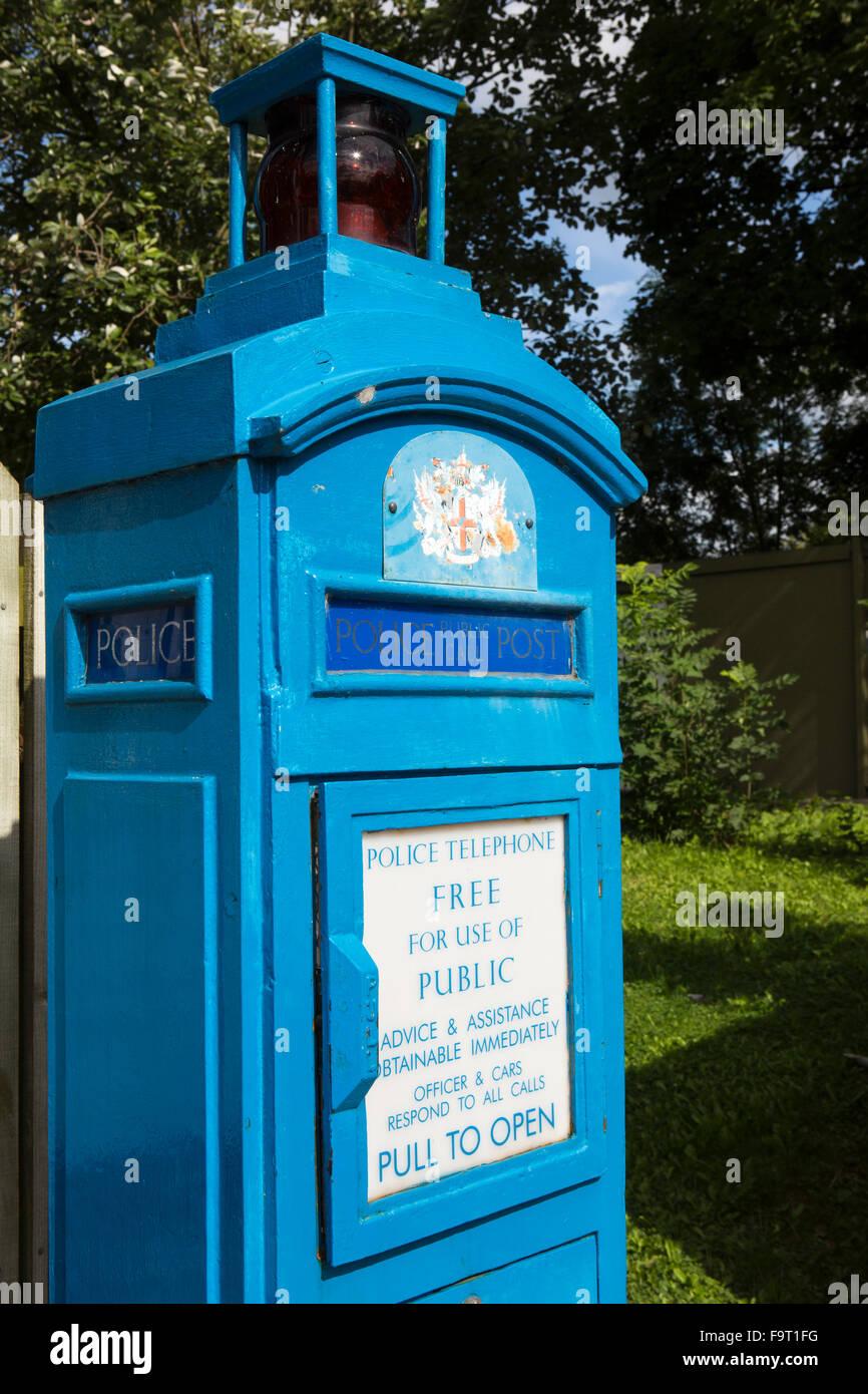 UK, England, Worcestershire, Bromsgrove, Avoncroft Museum, National Telephone Kiosk Collection, City of London police - Stock Image