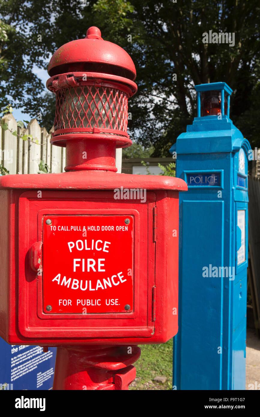UK, England, Worcestershire, Bromsgrove, Avoncroft Museum, National Telephone Kiosk Collection, red roadside emergency - Stock Image