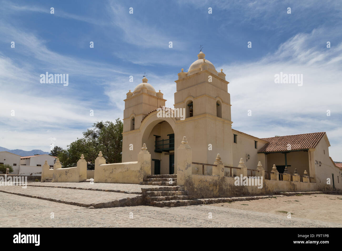 Photograph of the church in the small town Molinos on route 40 in the Northwest of Argentina. - Stock Image