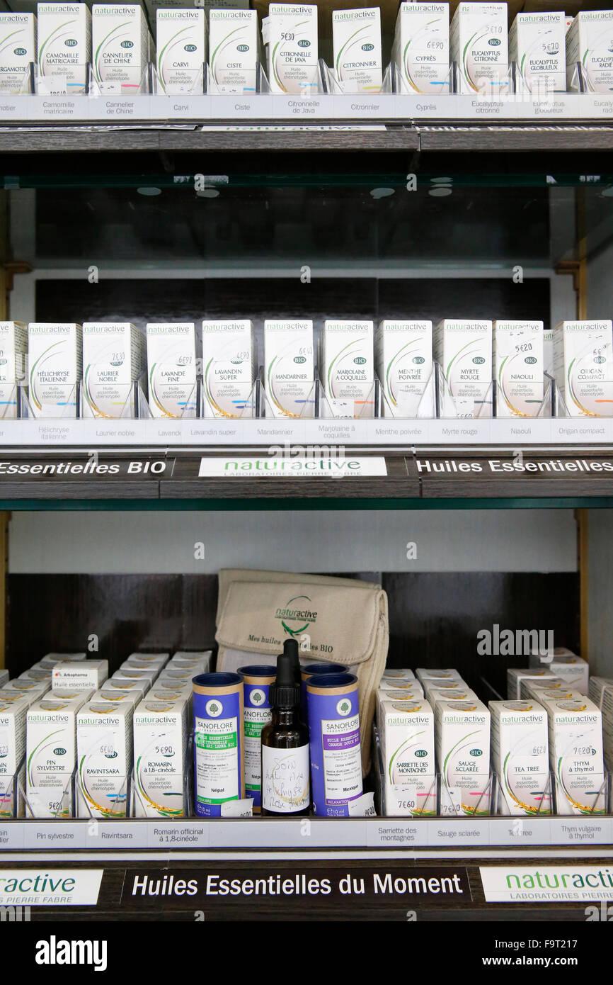 Drugstore. Essential oils. - Stock Image