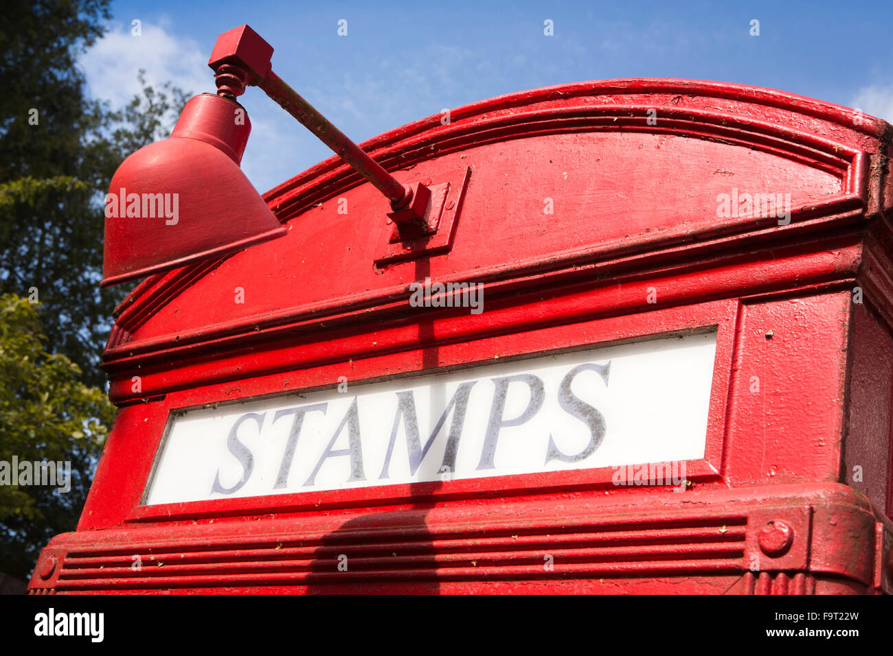 UK, England, Worcestershire, Bromsgrove, Avoncroft Museum, National Telephone Kiosk Collection, Stamps sign of 1927 - Stock Image