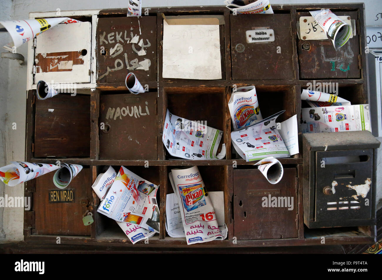 Mail boxes in a Tunis building - Stock Image
