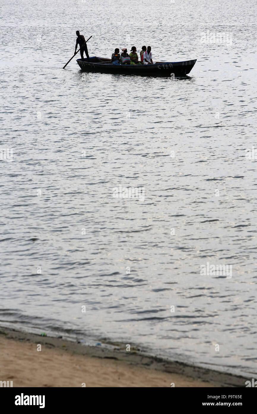 Canoe on lake Togo. - Stock Image