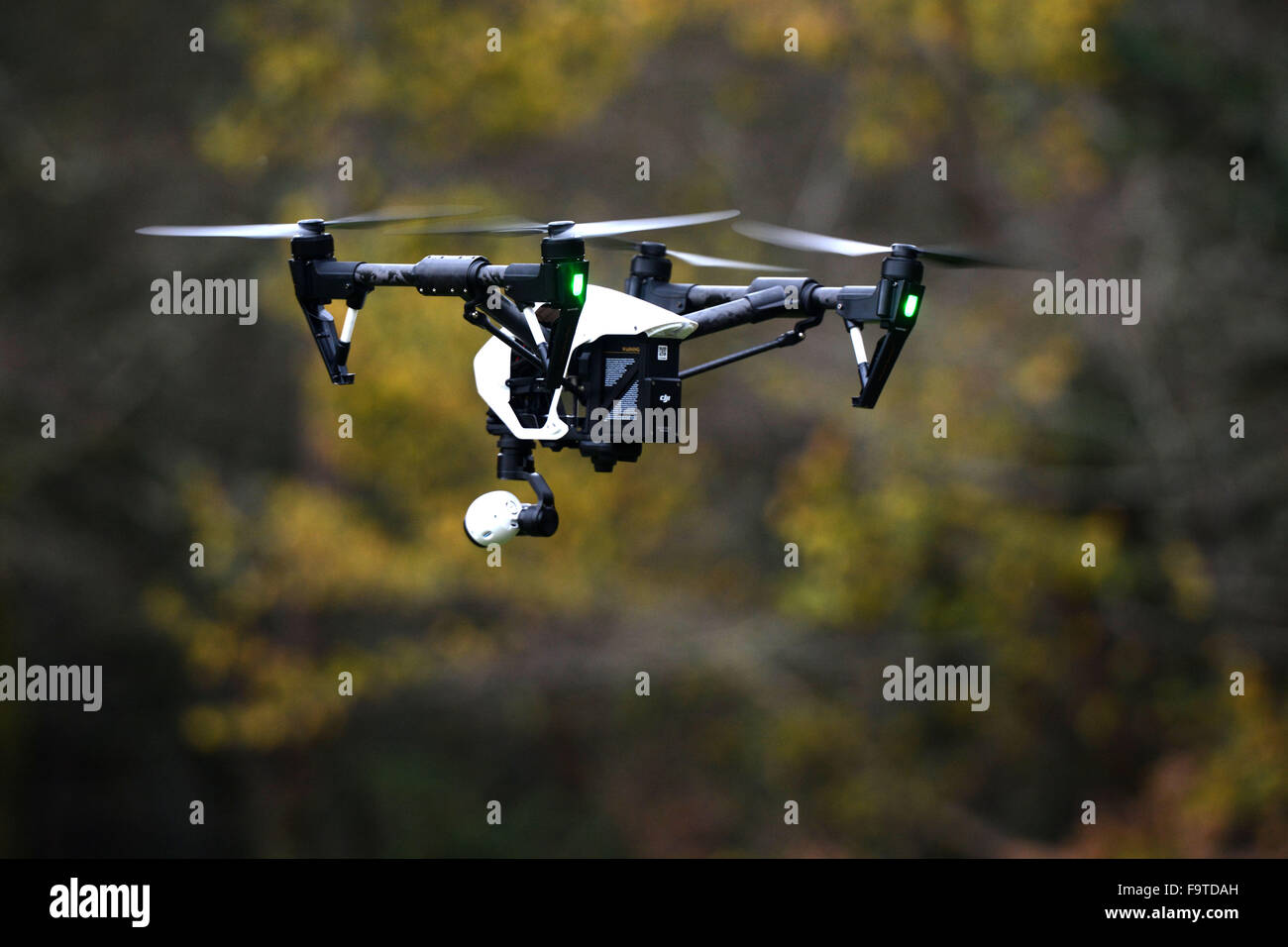 Devon & Cornwall Police use a drone in a search and rescue operation - Stock Image