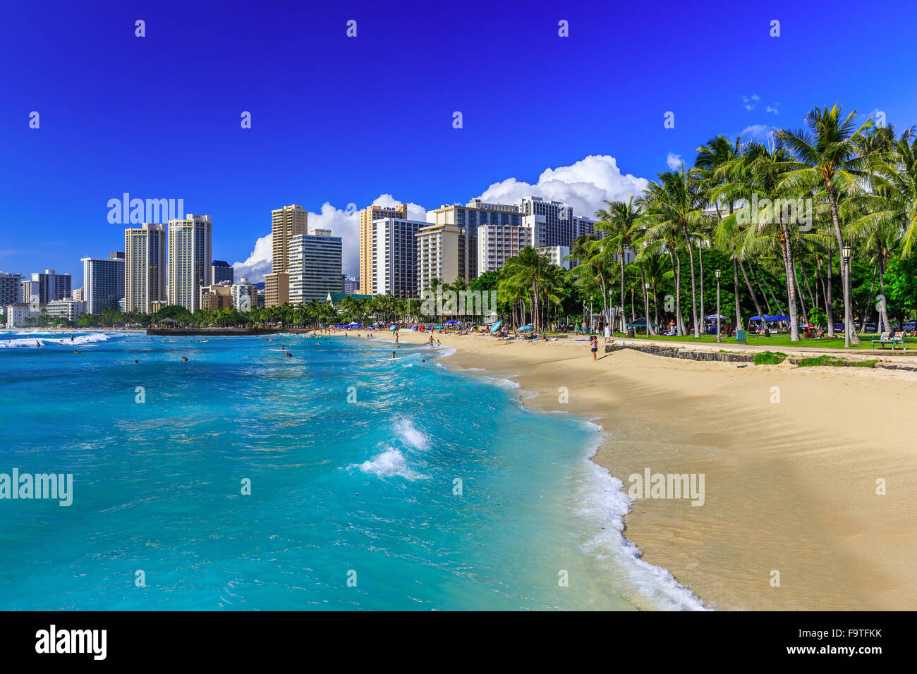 Honolulu, Hawaii. Waikiki beach and Honolulu's skyline. Stock Photo