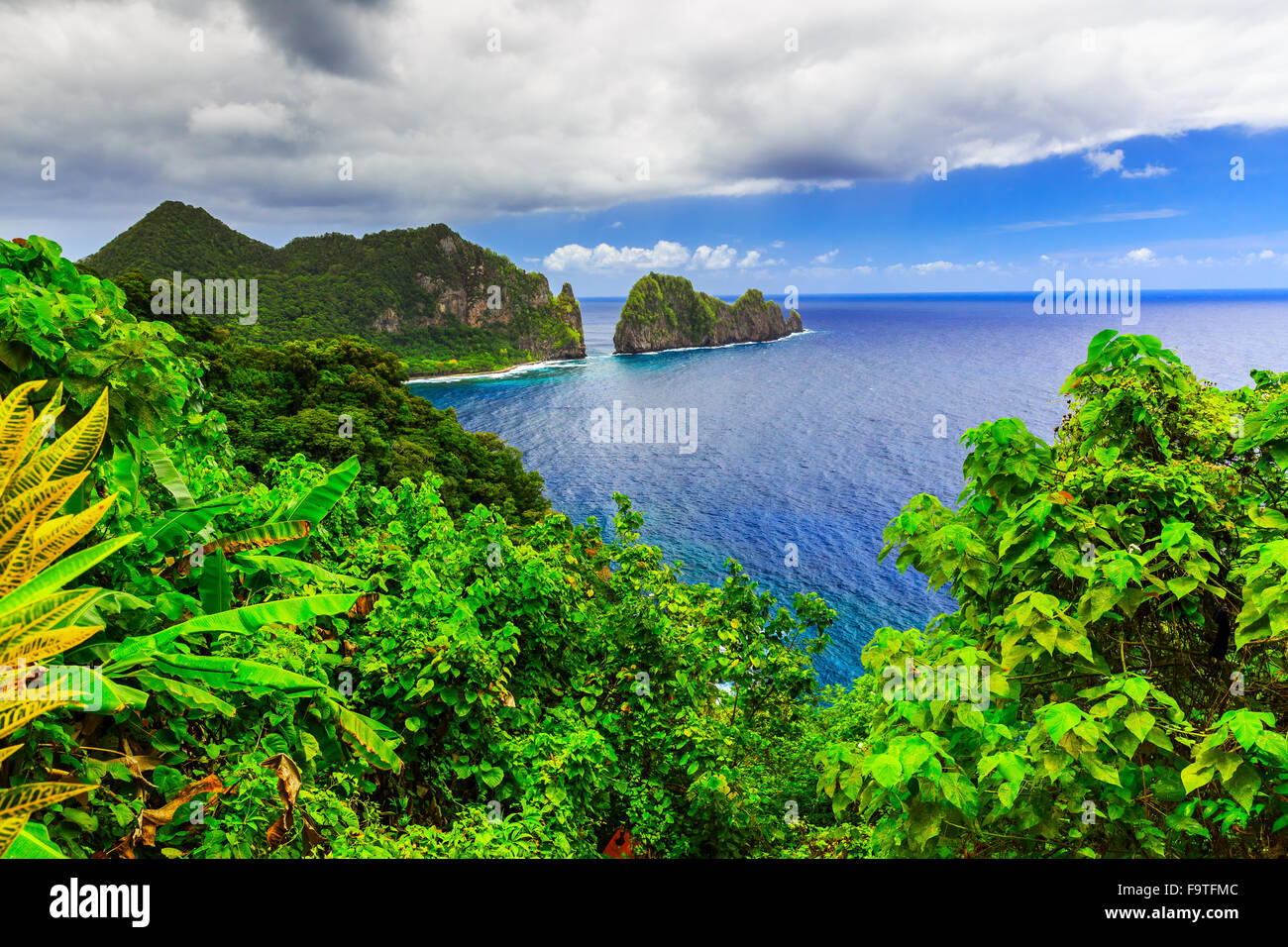 Pago Pago, American Samoa. Camel Rock near the village of Lauli'i. - Stock Image