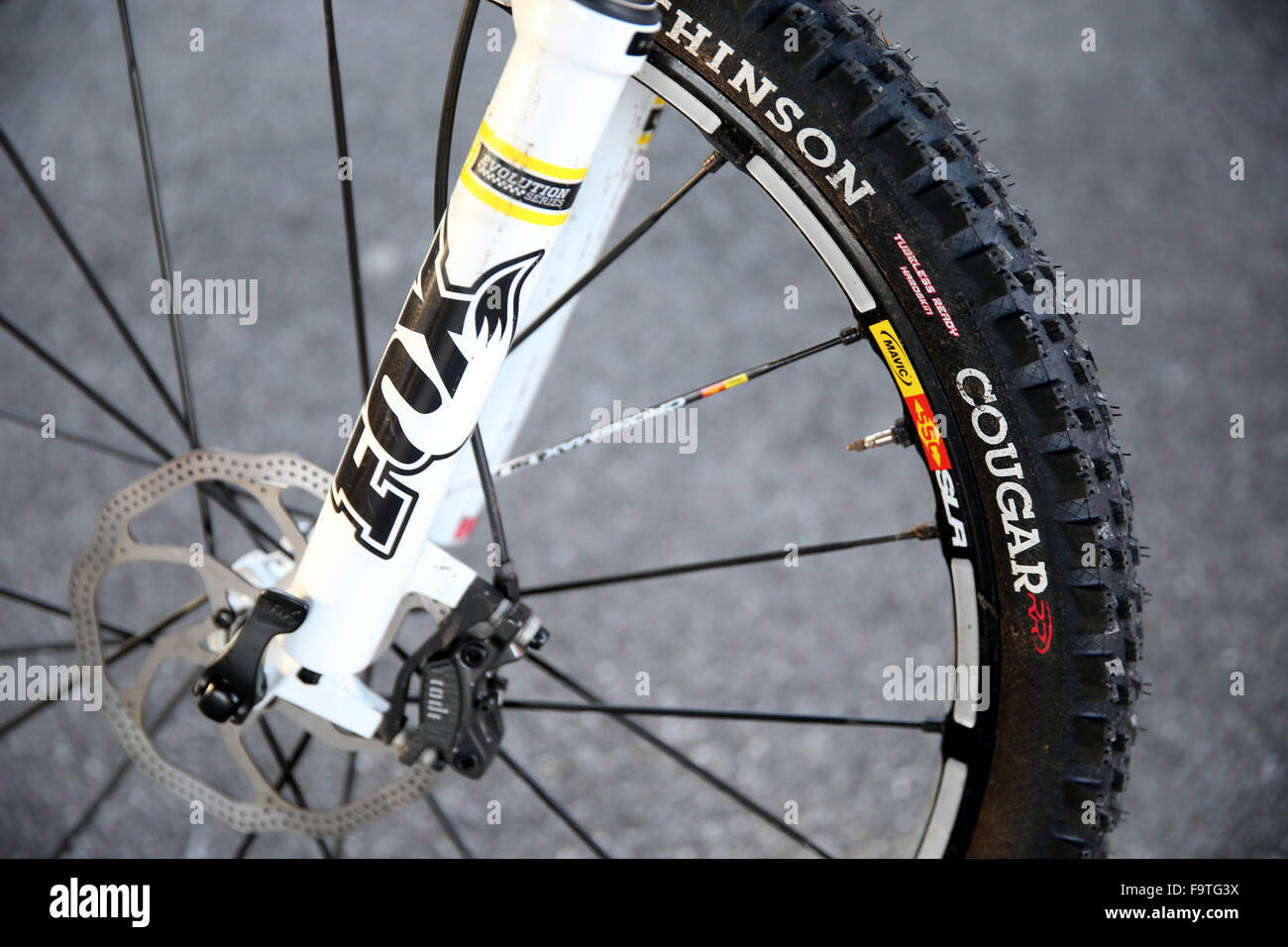 Mountain bike with spiked tires. - Stock Image
