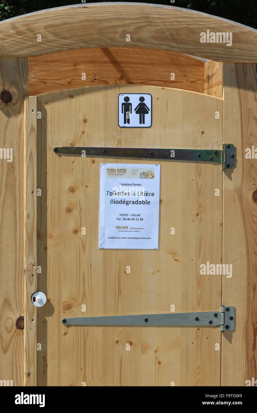 Composting toilet. The compost  may be used for horticultural or agricultural soil enrichment. - Stock Image