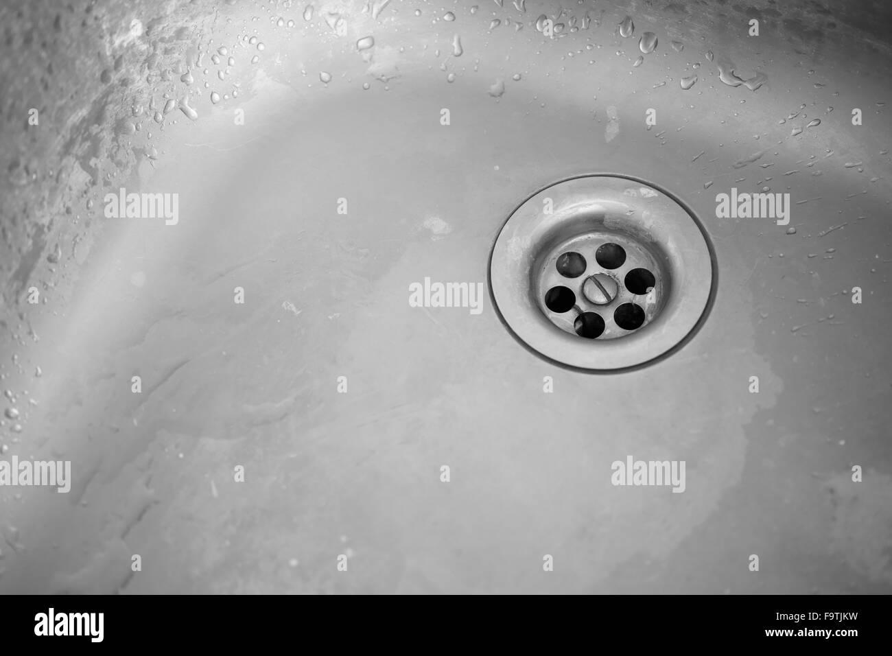Old Dirty Sink Plug Hole Of A Kitchen Sink Black And White Image Stock Photo Alamy
