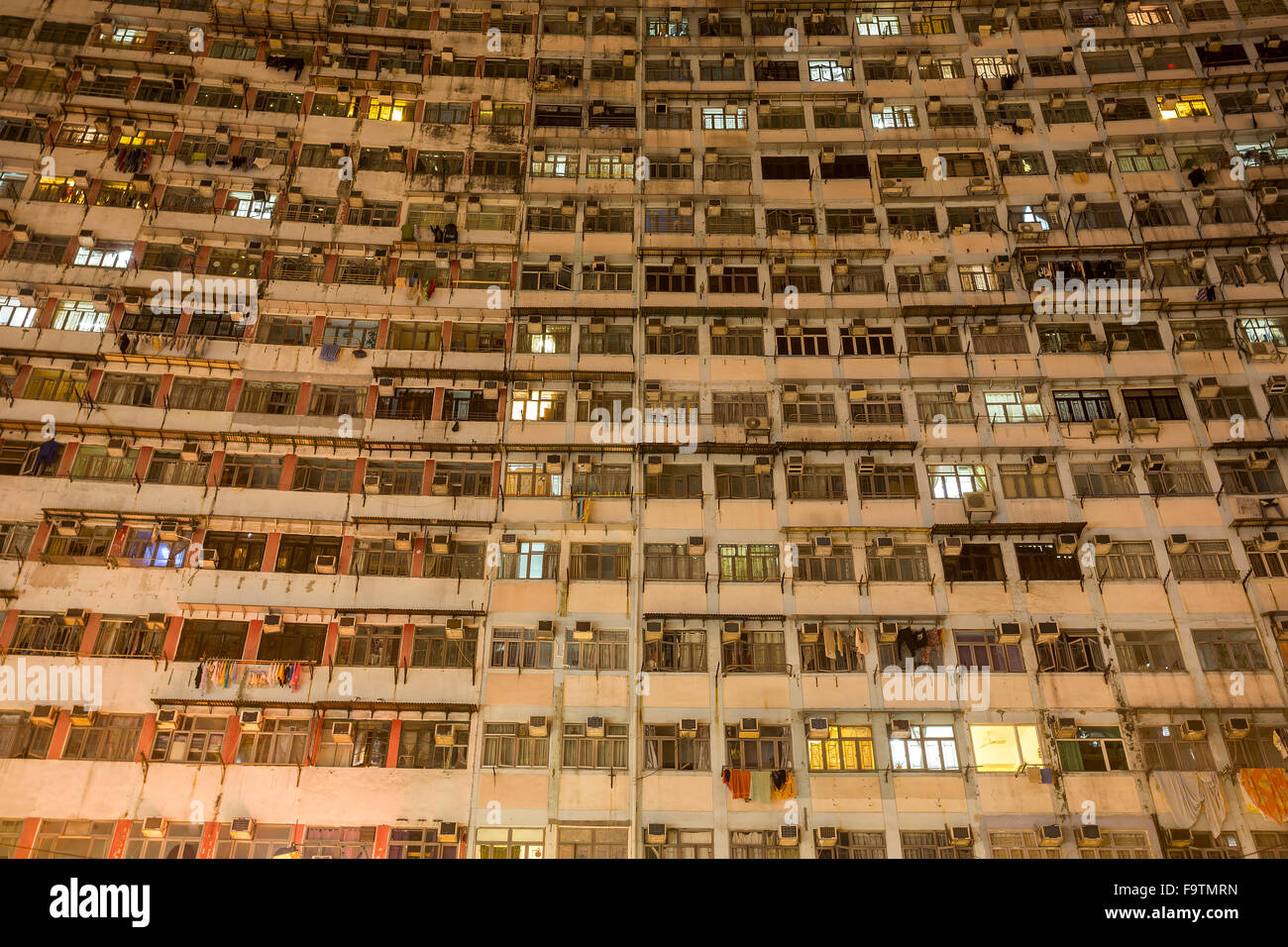 View of a high-density apartment building in Hong Kong - Stock Image