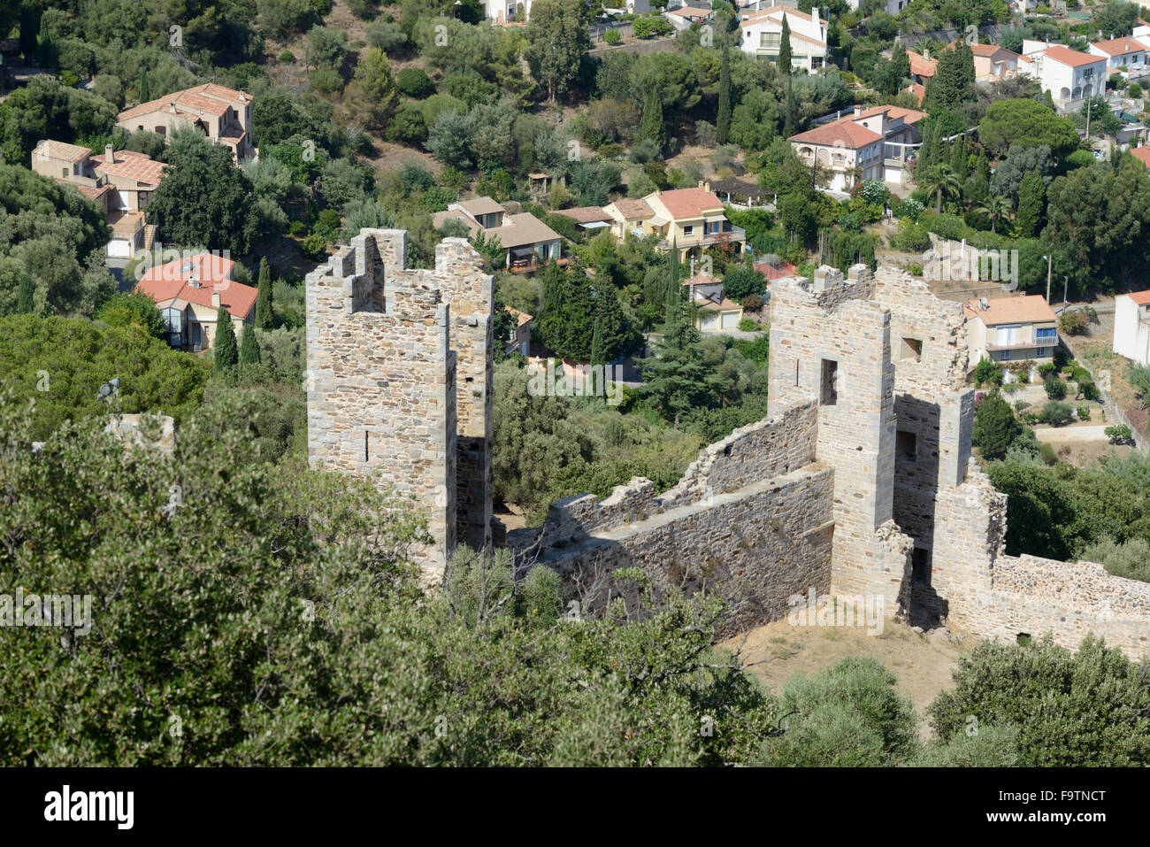 Aerial View over the Ruined Château of Saint Bernard or Castle Walls Hyères Var Provence France - Stock Image