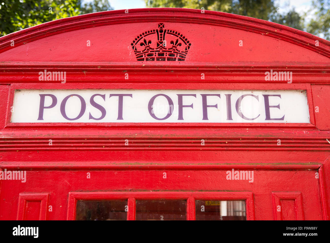 UK, England, Worcestershire, Bromsgrove, Avoncroft Museum, National Telephone Kiosk Collection, Post Office sign - Stock Image