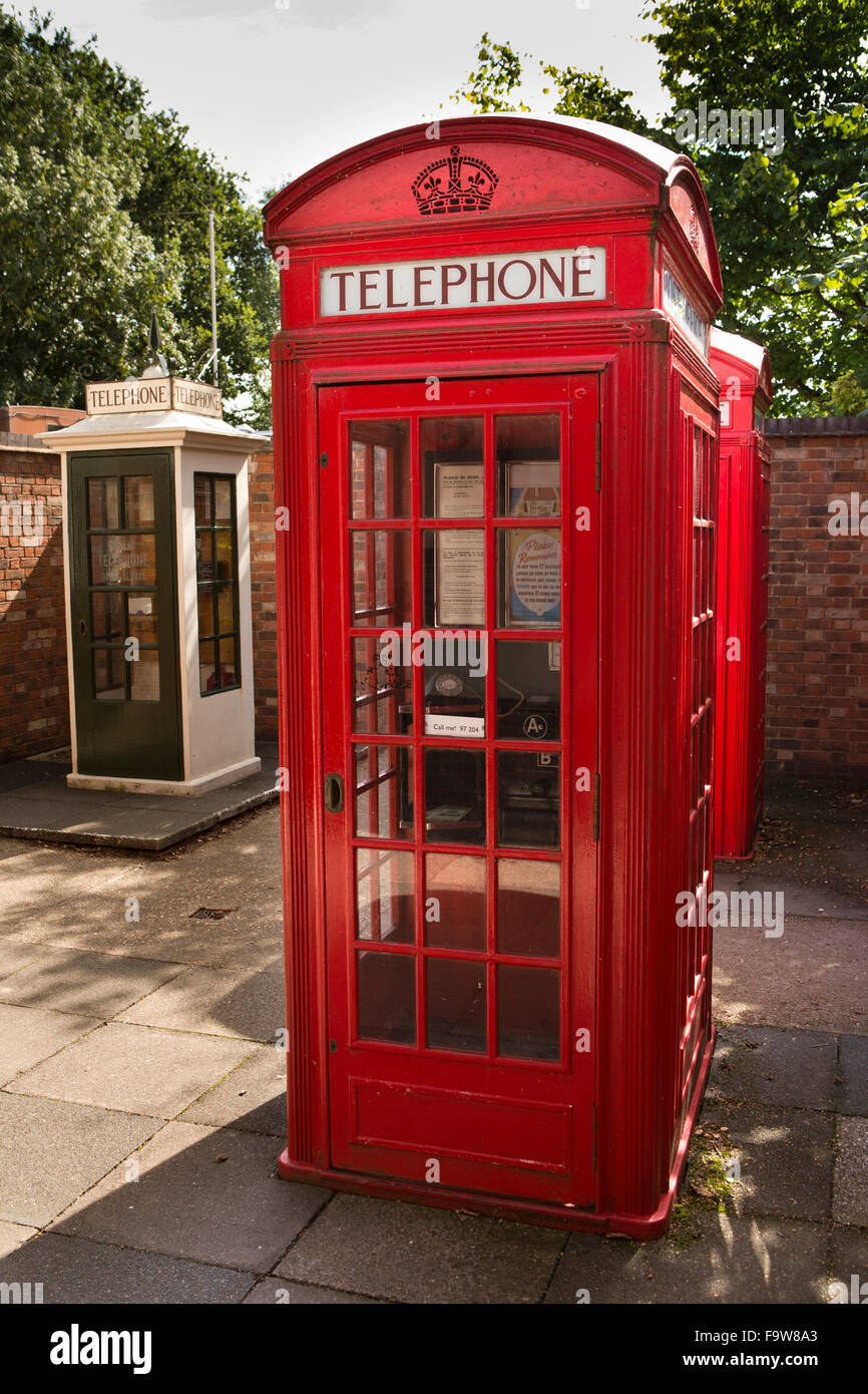UK, England, Worcestershire, Bromsgrove, Avoncroft Museum, National Telephone Kiosk Collection, 1927 K2 and 1921 - Stock Image