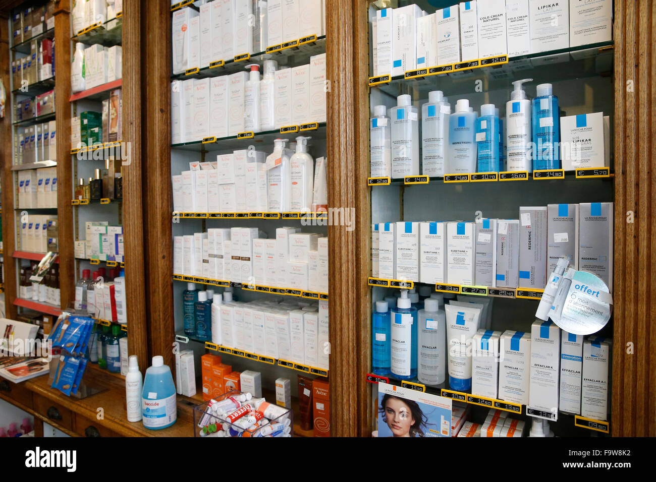 Drugstore. Cosmetic items. - Stock Image