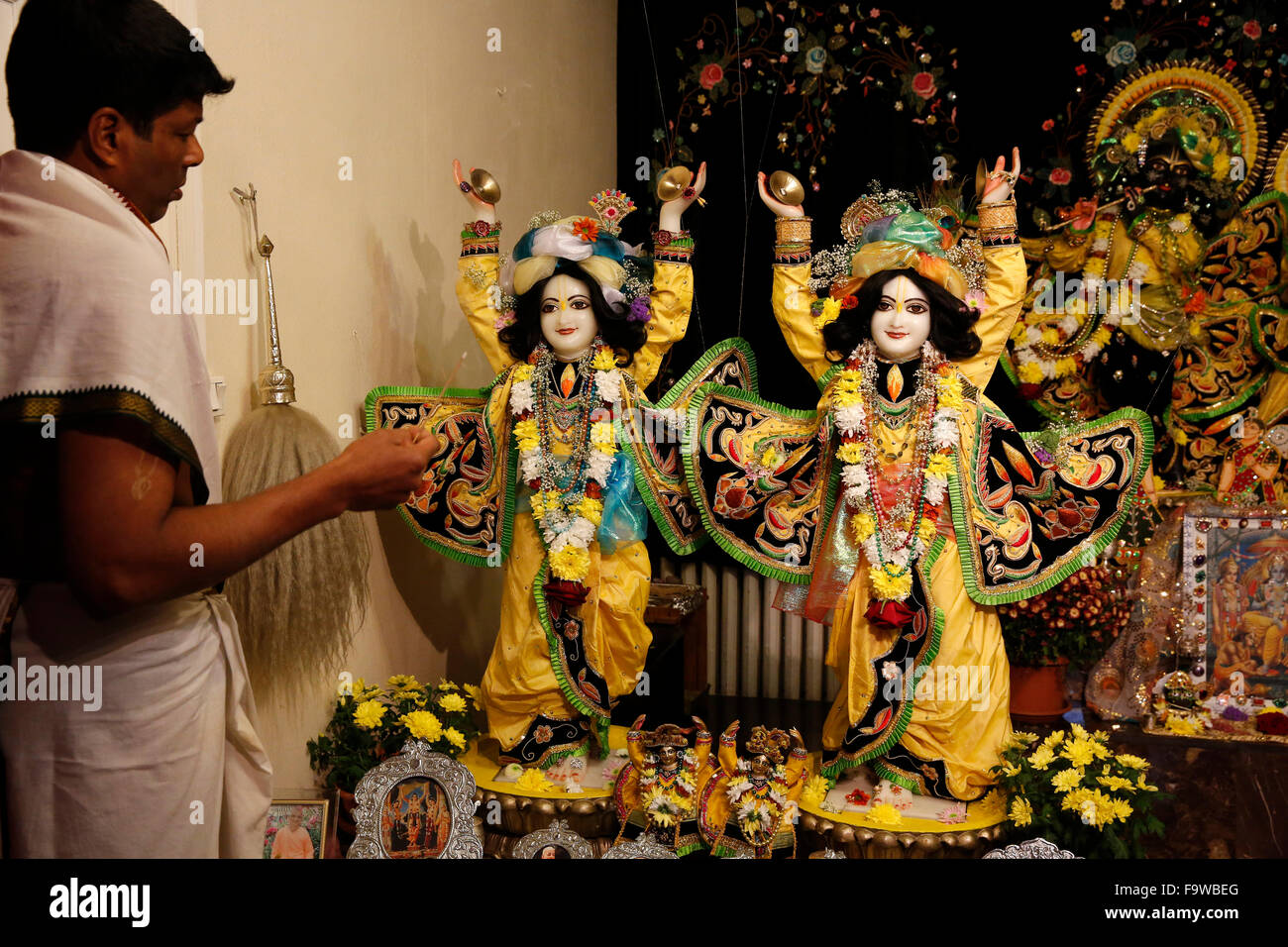 Celebration of Diwali festival in an ISKCON temple. The statues depict Gaura-Nitai Stock Photo