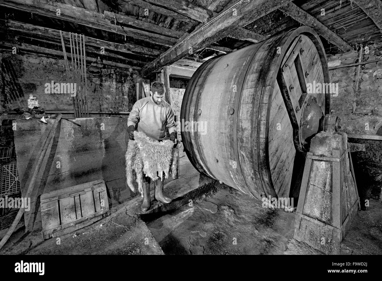 Working in the interior of an old tannery in Harmena neighbourhood found in Amfissa city, in Fokida region, Central - Stock Image