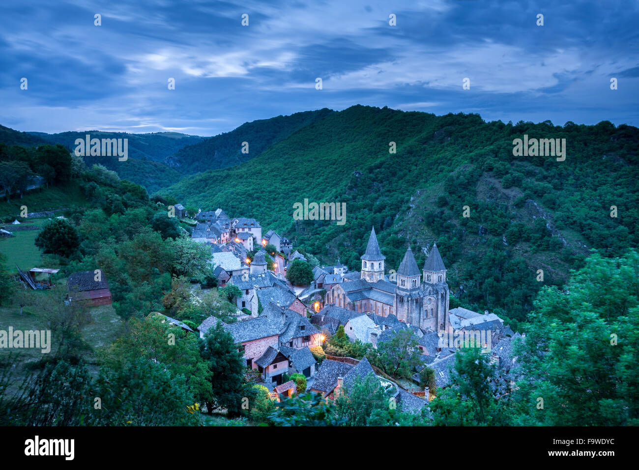 The village of Conques France before sunrise - Stock Image