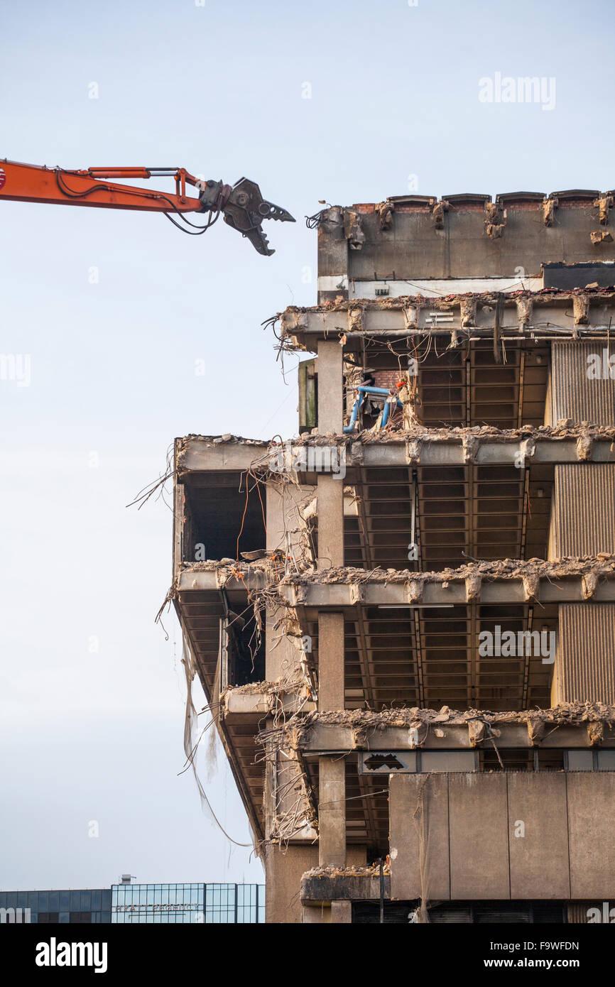 Demolition work in progress on the old Birmingham Library building, UK. - Stock Image