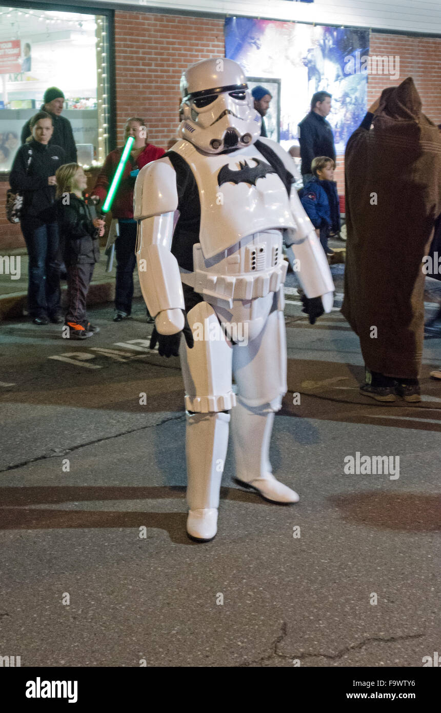 Bar Harbor, Maine, USA. 18th December, 2015. A fan celebrating the opening night of Star Wars: The Force Awakens - Stock Image
