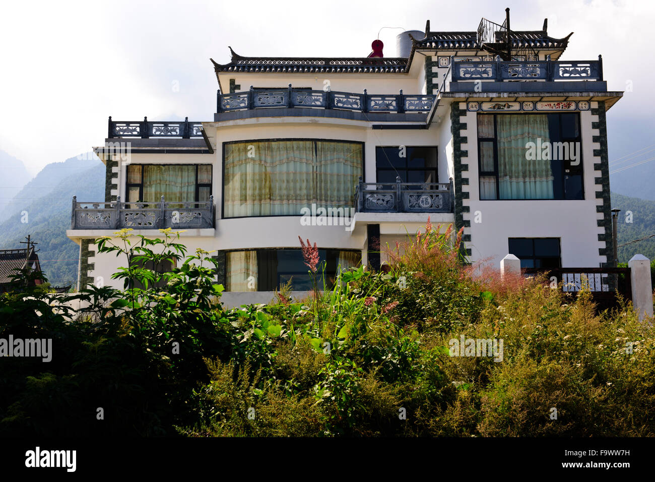 Traditional Bai Ethnic Peoples Modern Stone Houses Built In White Wallssloping Tiled RoofsDaliYunnanChina