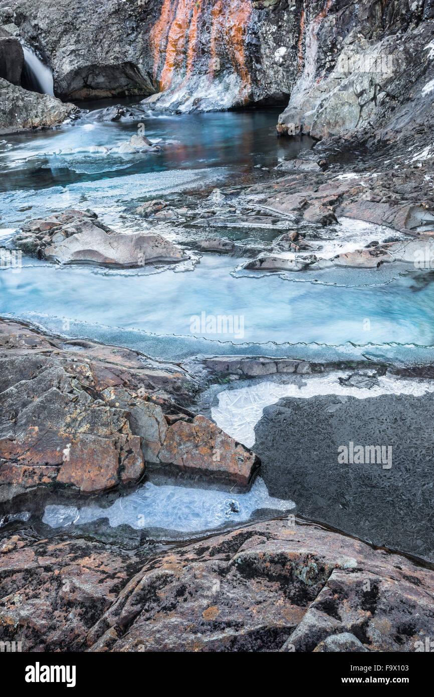 Fairy Pools in Winter in the Isle of Skye in Scotland. Stock Photo