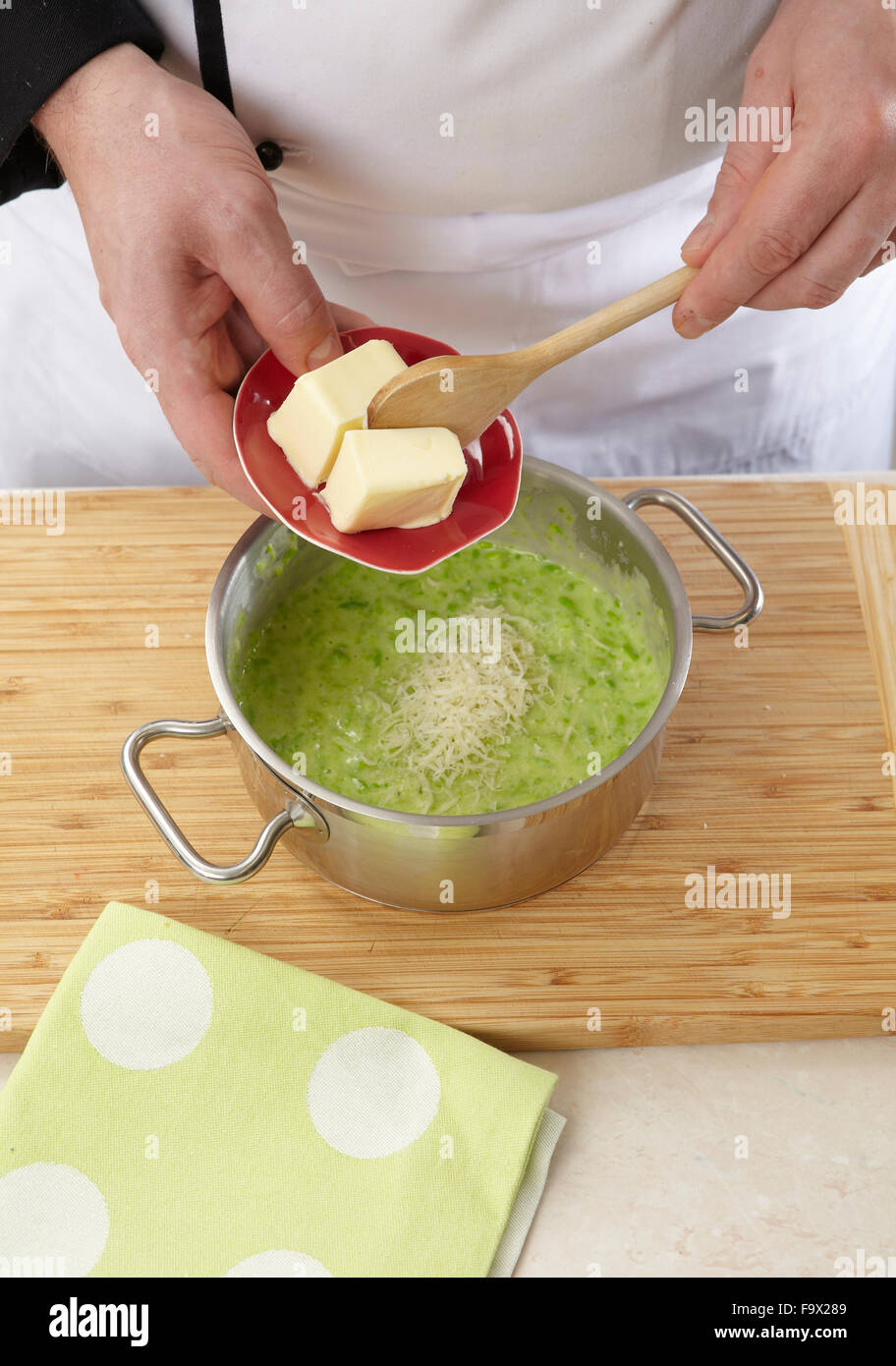 Pork cuts with pea mash + steps - Stock Image