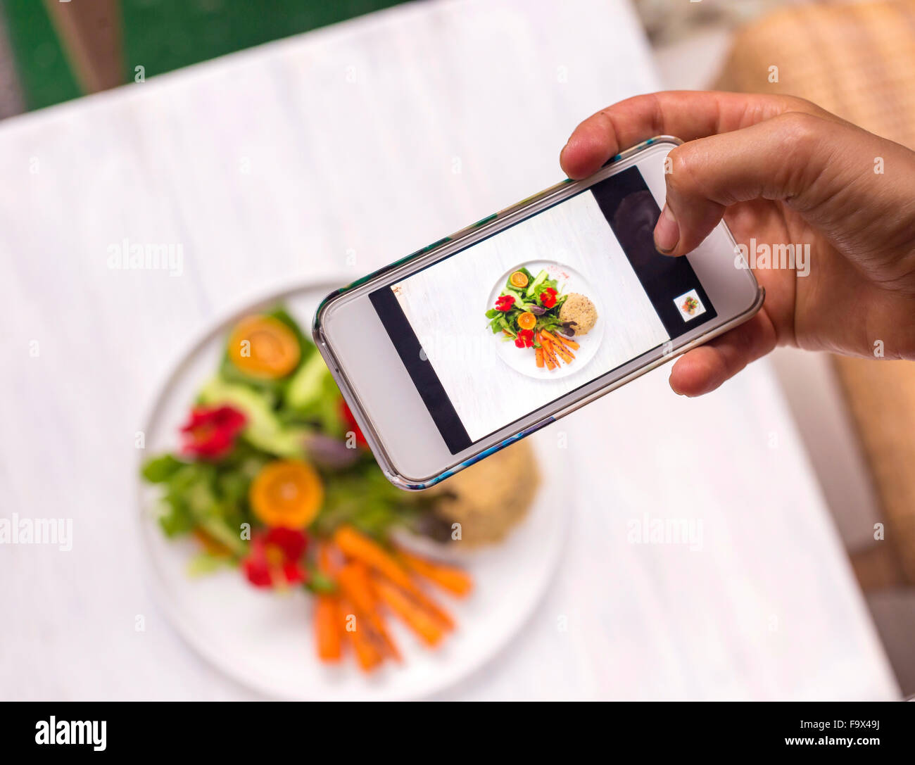 Woman taking a photo of dish with vegetables and quinoa, close-up - Stock Image