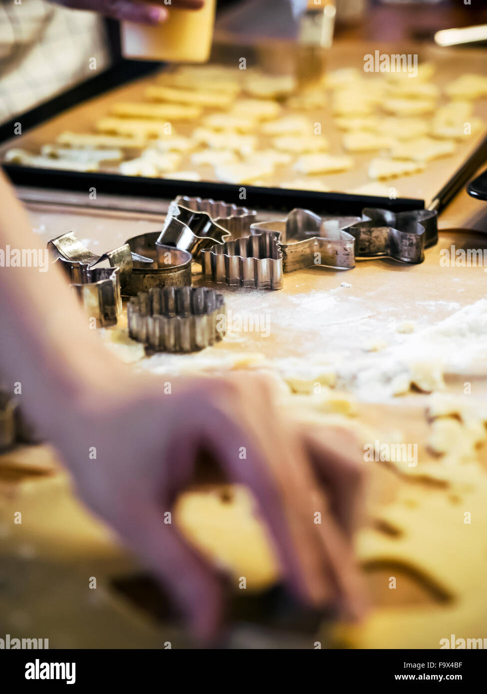 Different cookie cutters for Christmas bakery - Stock Image