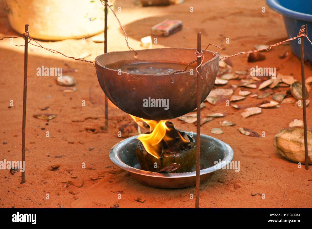Potion prepared to appease spirits in Ewe Tron vodun (voodoo) ceremony, Lome, Togo - Stock Image