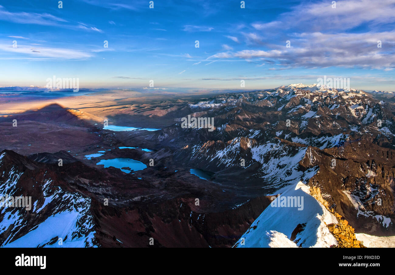 Bolivia, Cordillera Real, Aerial view of the Cordillera Real mountain range from the top of Huayna Potosi Stock Photo