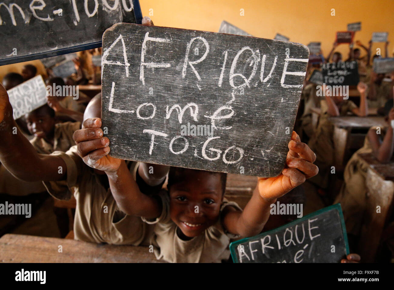 African primary school. Geography class. - Stock Image