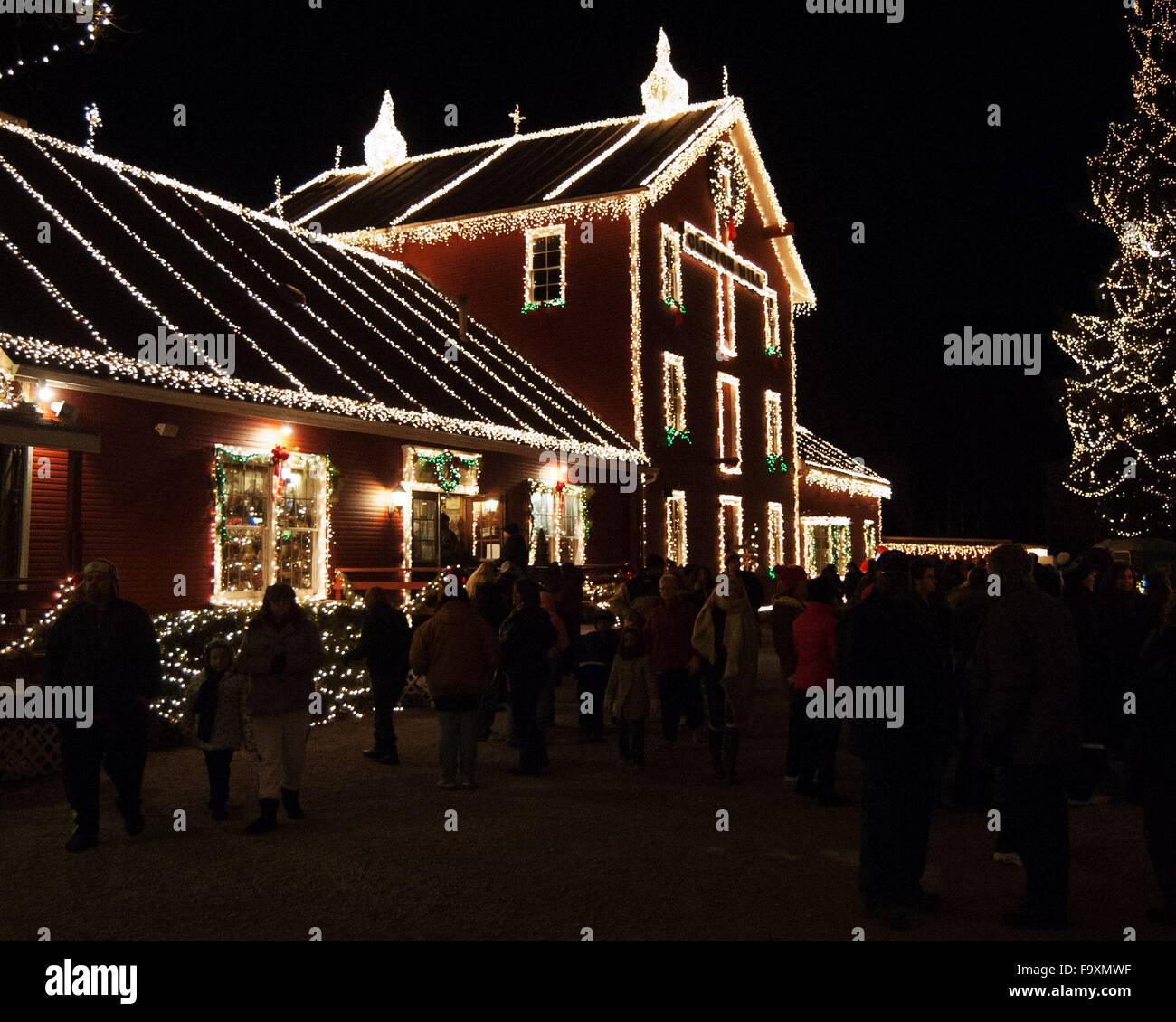 Christmas Lights Clifton Mill Clifton Oh Ohio Santa Claus S Stock ...