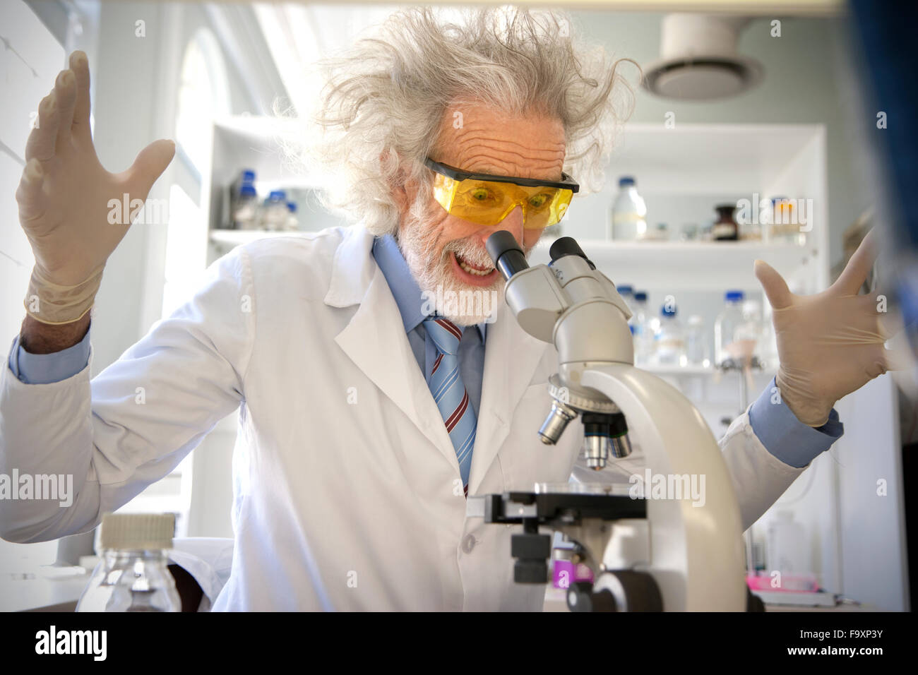 Tousled professor examining samples under microscope, looking surprised - Stock Image