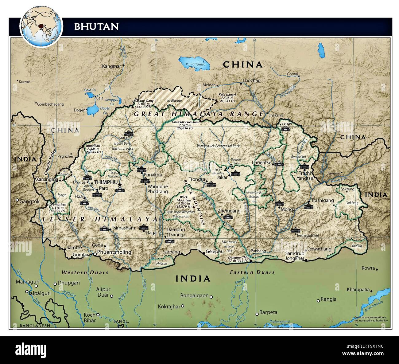 Bhutan country physiography map Stock Photo: 92173912 - Alamy