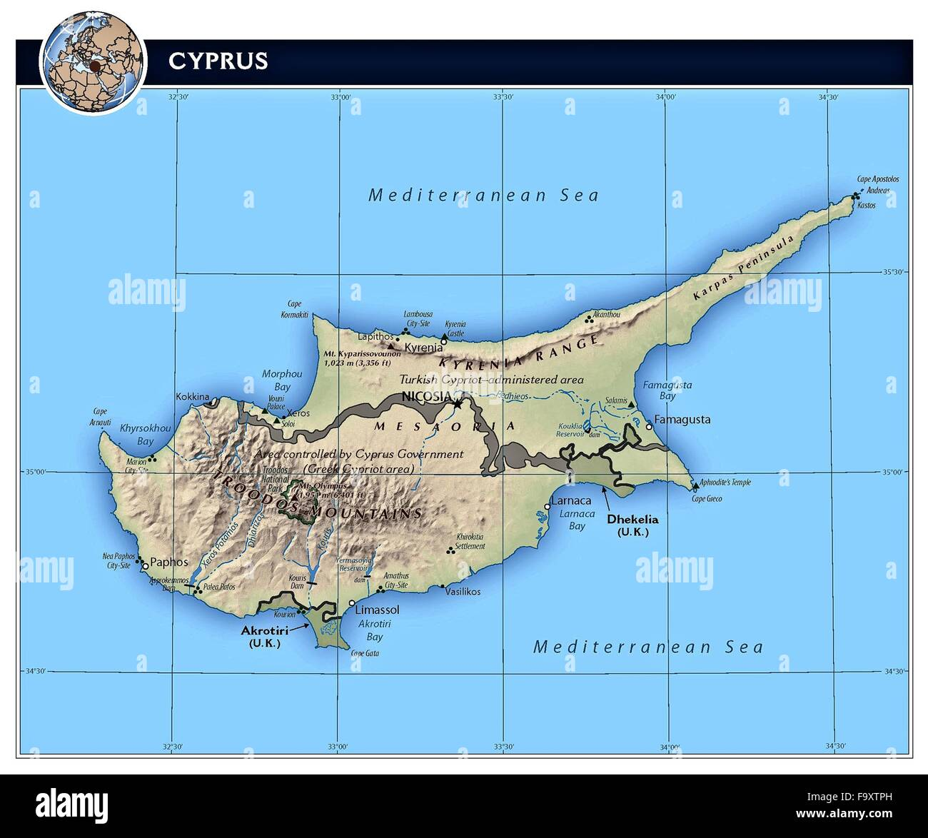 Cyprus island country physiography map stock photo 92173945 alamy cyprus island country physiography map gumiabroncs Image collections