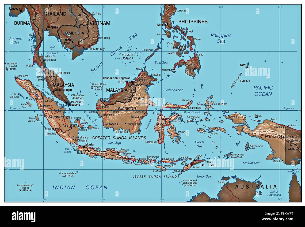 Indonesia Country Physiography Map Stock Photos & Indonesia ...