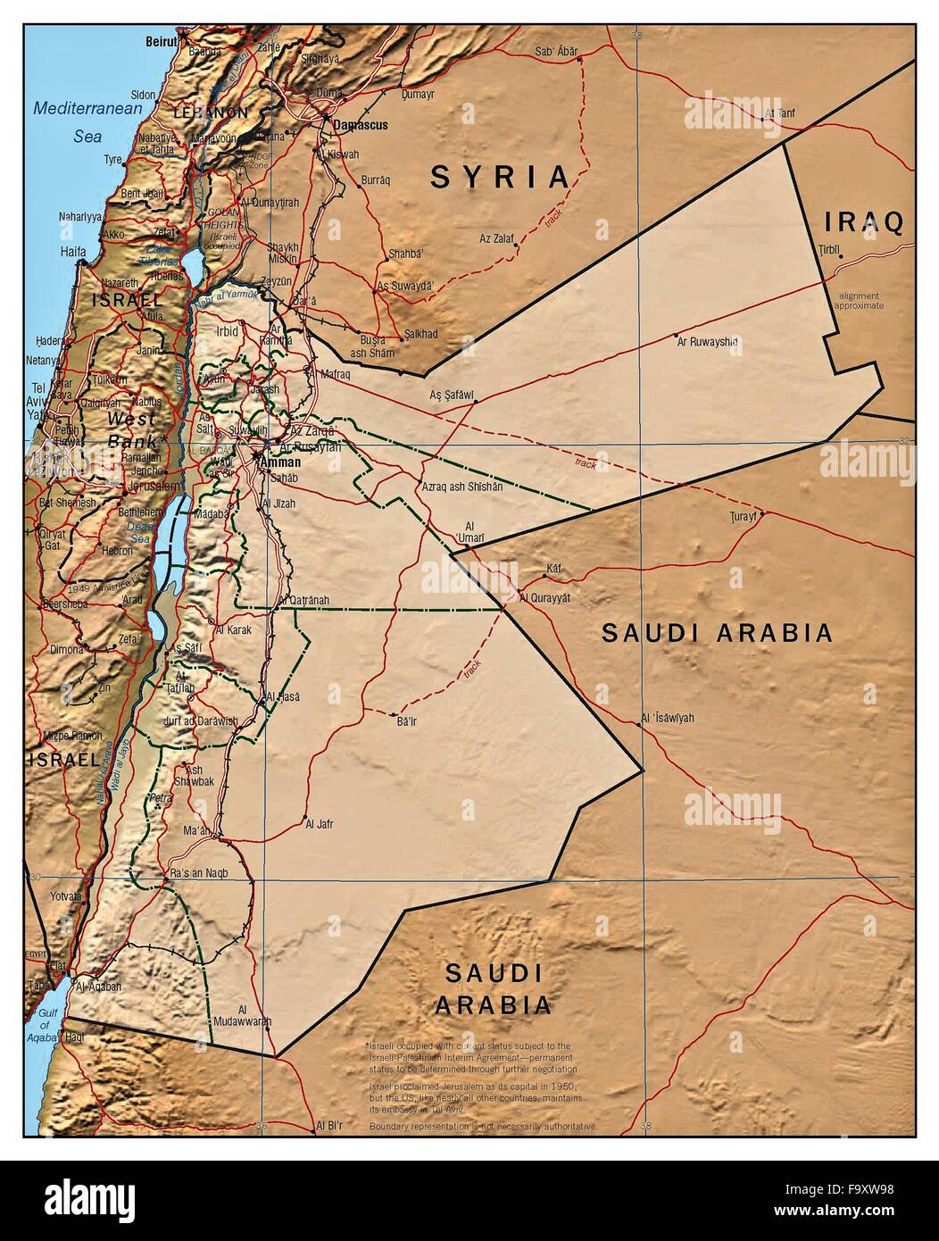Jordan country stock photos jordan country stock images alamy jordan country physiography map stock image gumiabroncs Gallery