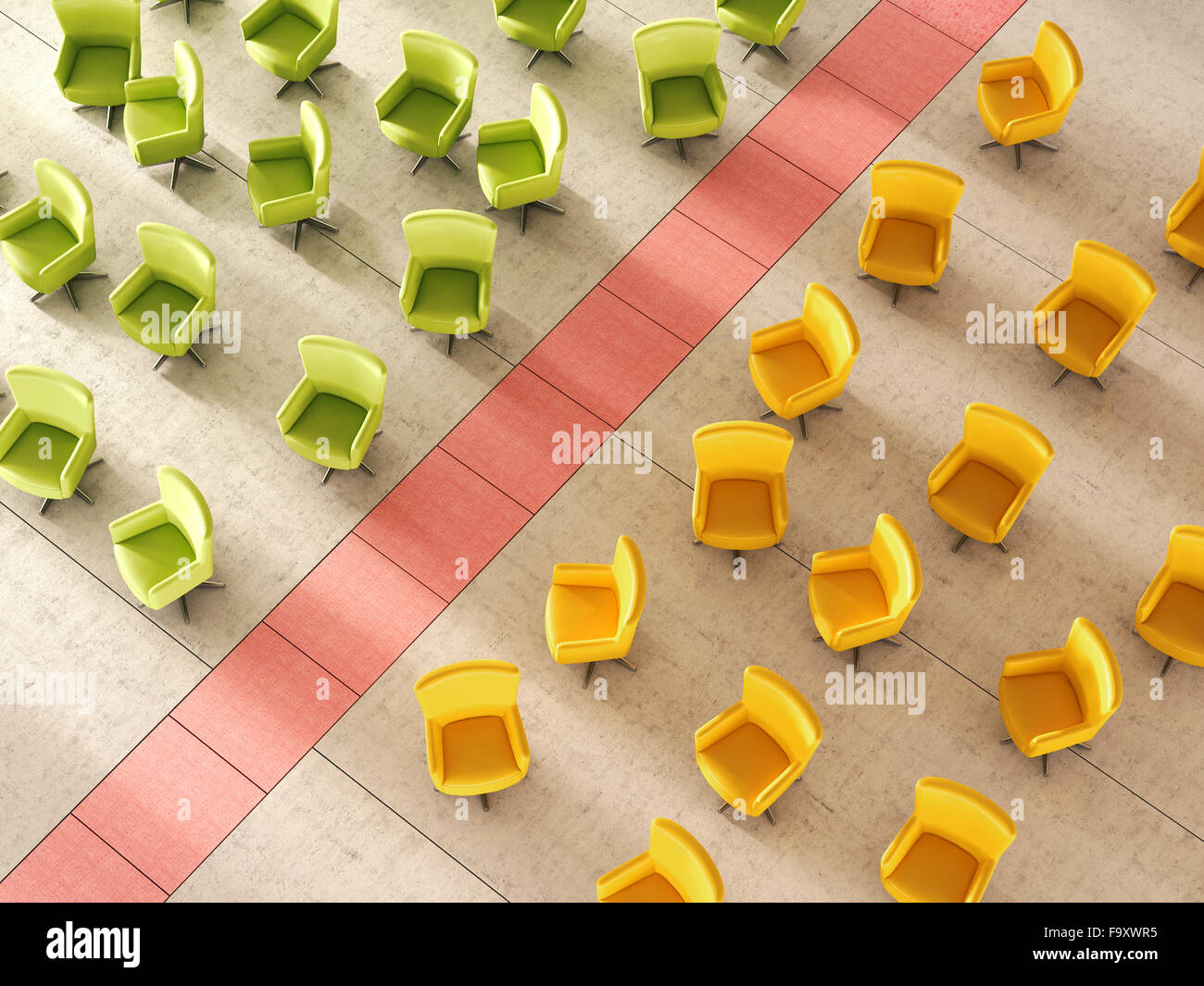 3d Rendering, Green and yellow chair separated by red line - Stock Image