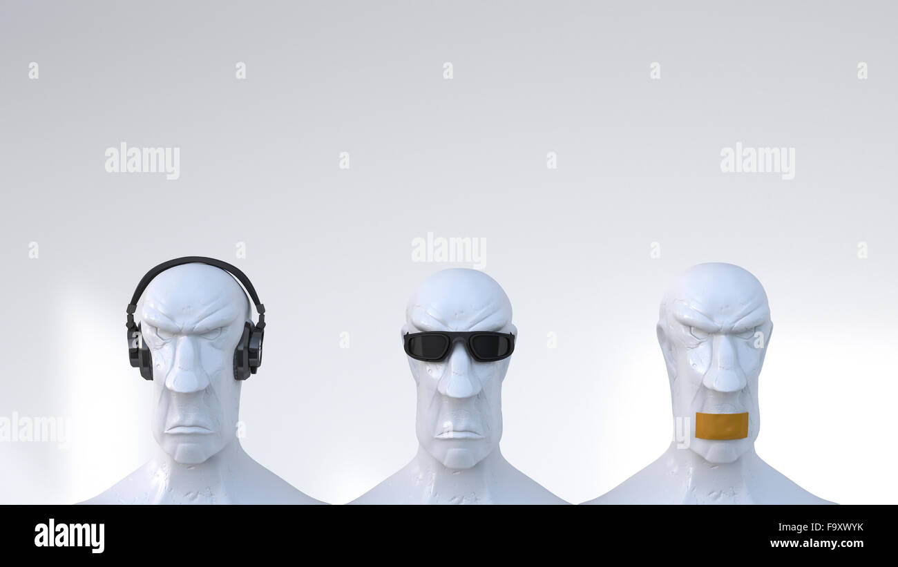 Busts representing the three monkeys, 3D Rendering Stock Photo