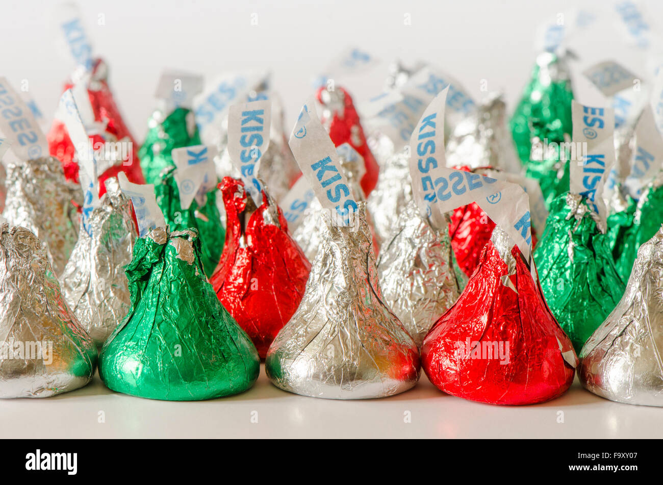 American Hershey\'s Kisses, milk chocolate candy in christmas Stock ...