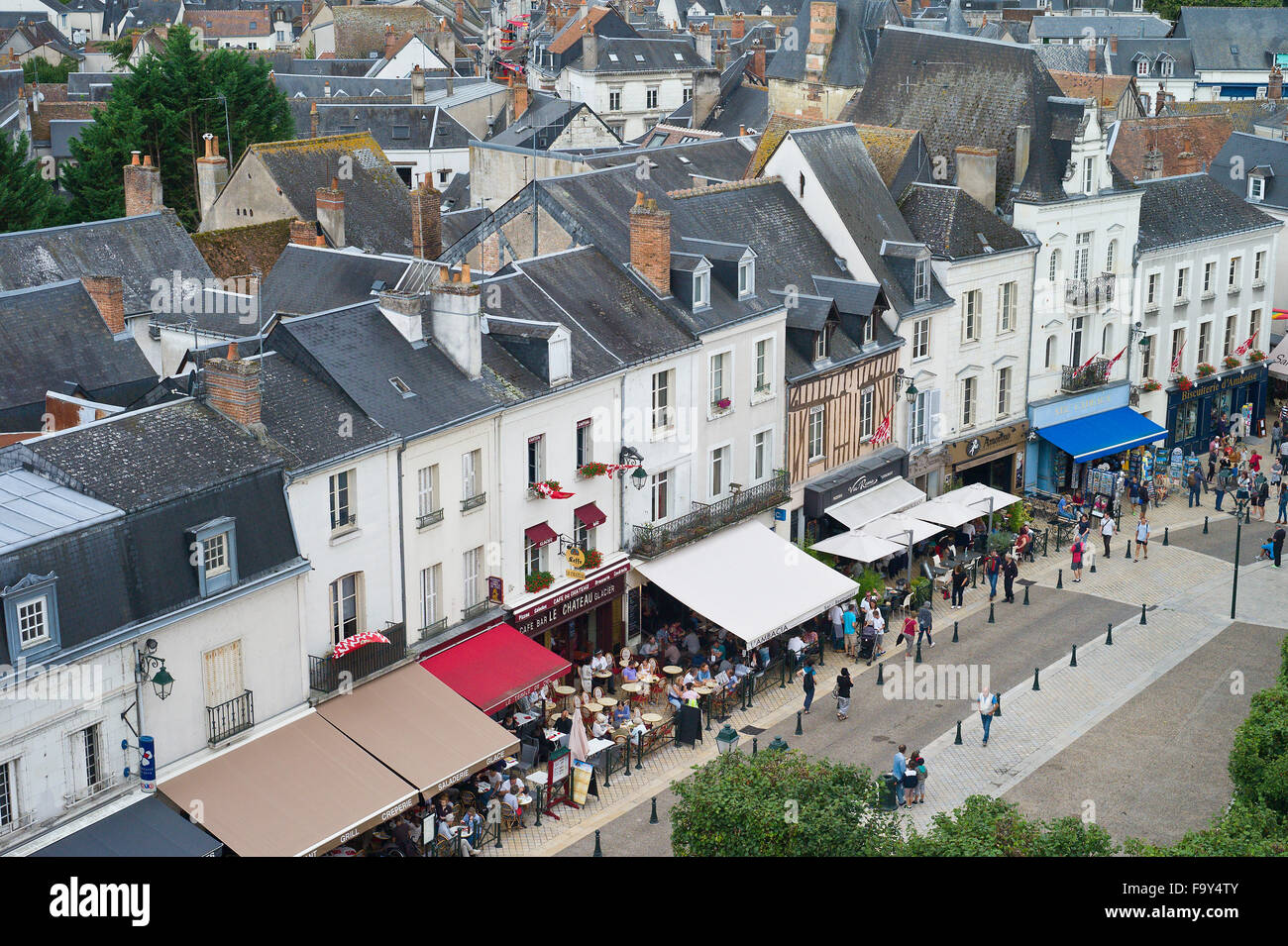 Overlooking Amboise from Chateau d'Amboise, Loire Valley, Indre-et-Loire, France - Stock Image