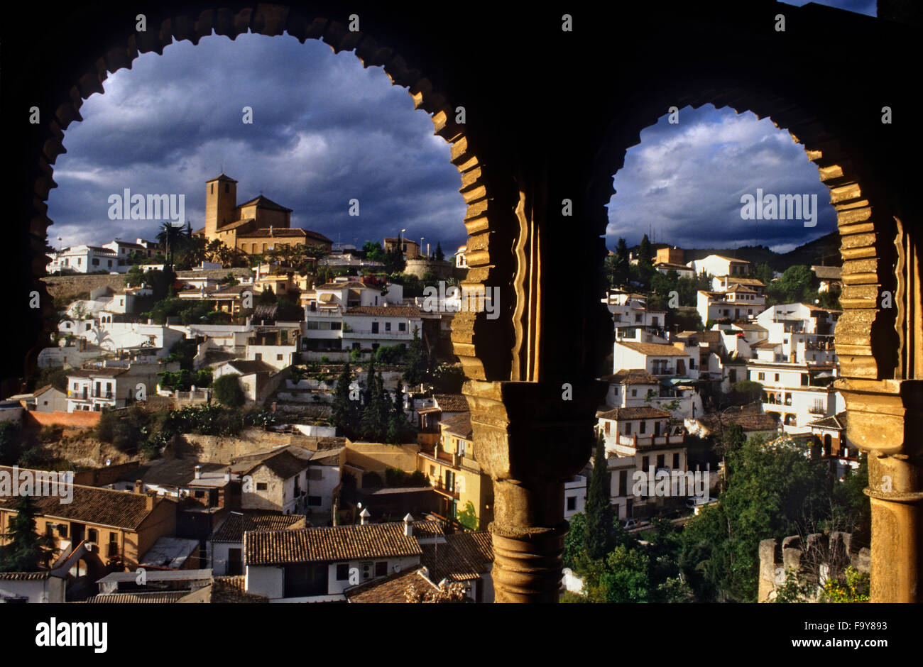 From the  Dar Al horra Palace, a view to the Albaicin. Granada. Spain. - Stock Image