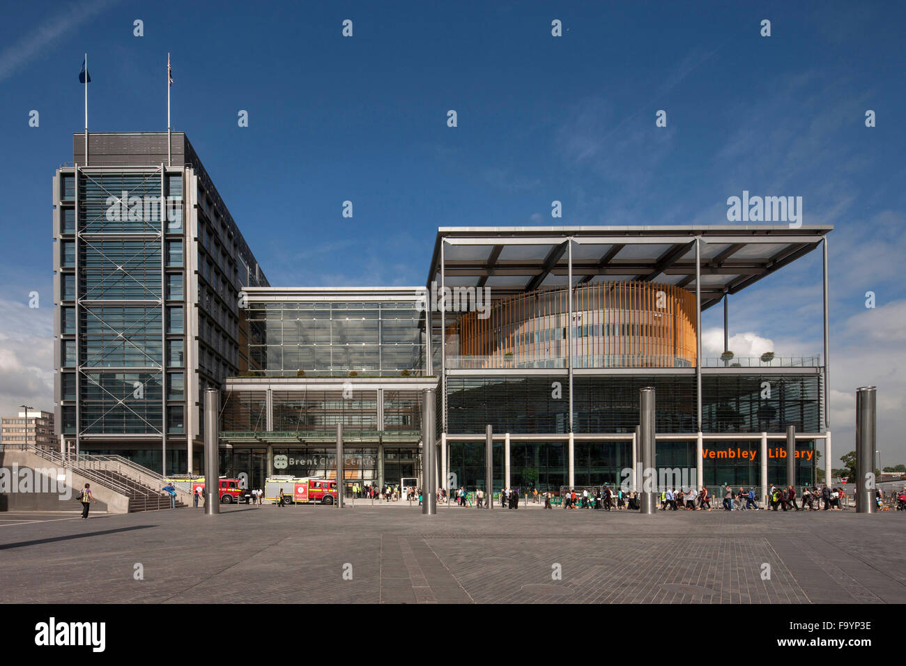 Brent Civic Centre and Wembley Library, London. An energy efficient modern civic space. Exterior view. - Stock Image