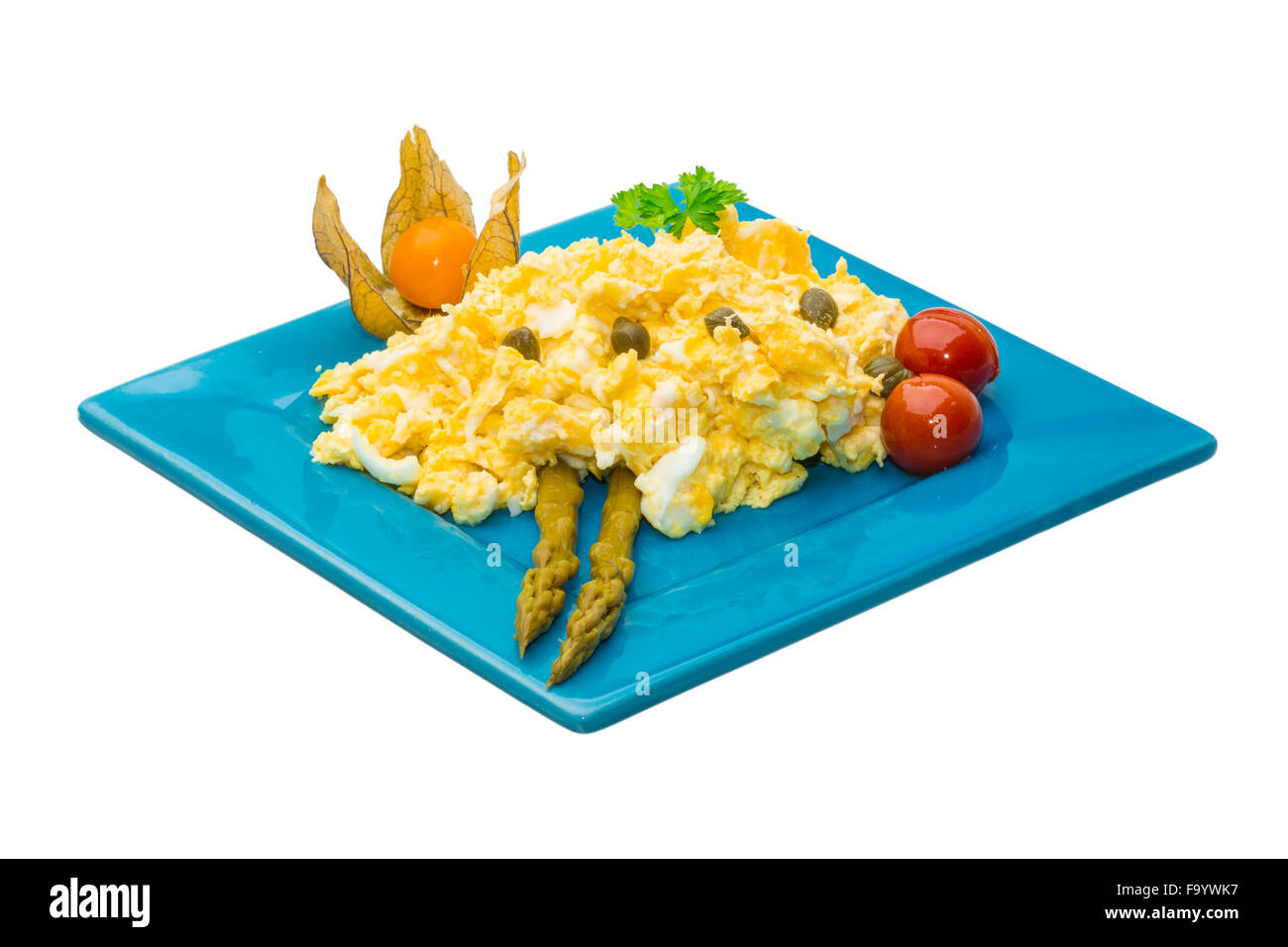 Scrambled eggs with asparagus - Stock Image