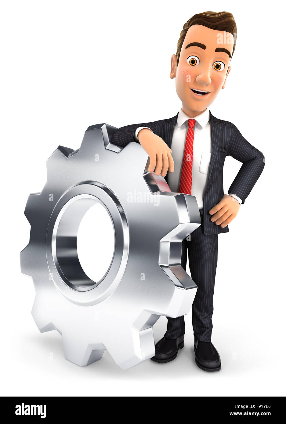3d businessman leaning on a gear, isolated white background Stock Photo