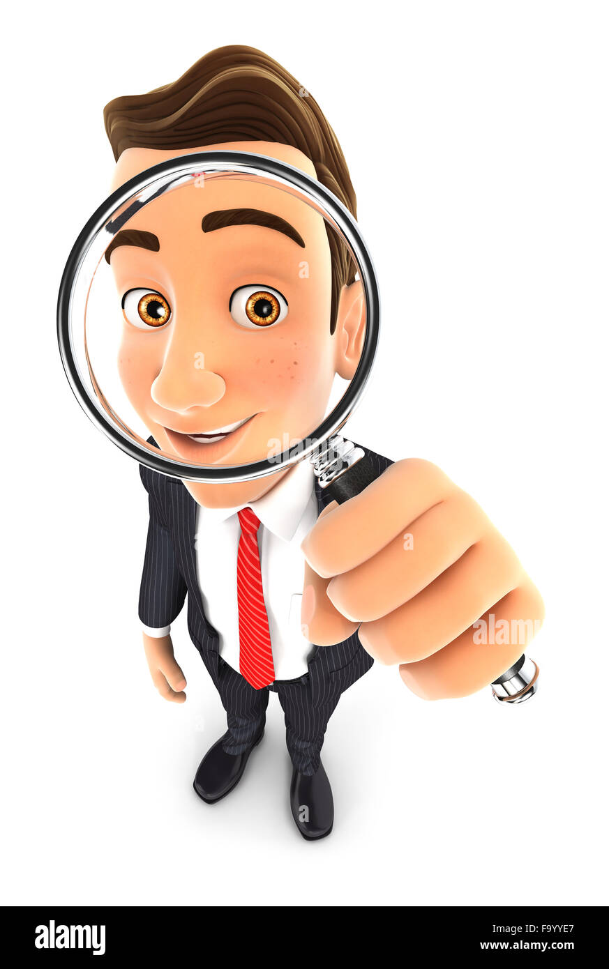 3d businessman looking into a magnifying glass, isolated white background Stock Photo
